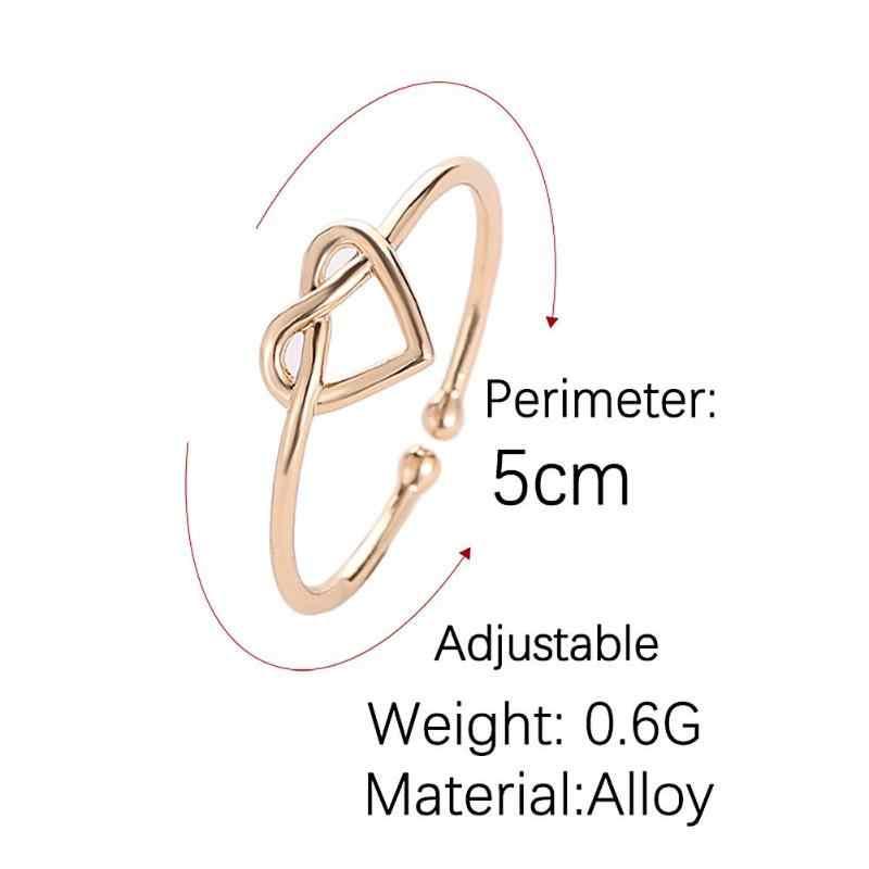 Anillo de compromiso ajustable con forma de corazón con nudo Simple coreano, anillo de apertura para mujer, joyería de bisutería, regalos de cumpleaños