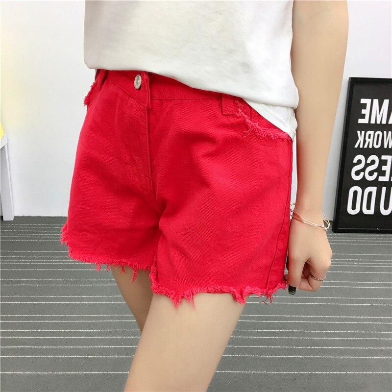 Mujeres Las Plus De rojo Denim Alta Es Moda Loose Vaqueros Esposas Negro Cortos Para Pantalones Cintura Tamaño xawqOXaI
