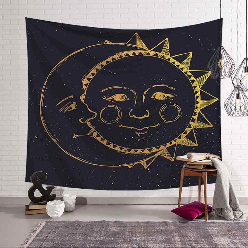 Preto e branco sol lua tapeçaria psicodélico celestial sol indiano hippie hippy tapeçarias parede pendurado lance colcha decoração