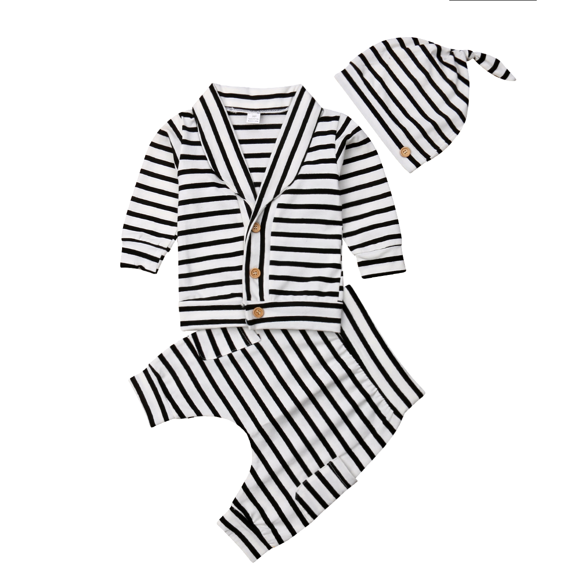 Infant Newborn Baby Boy Clothes Long Sleeve Striped Tops Pants Hat Outfit Set
