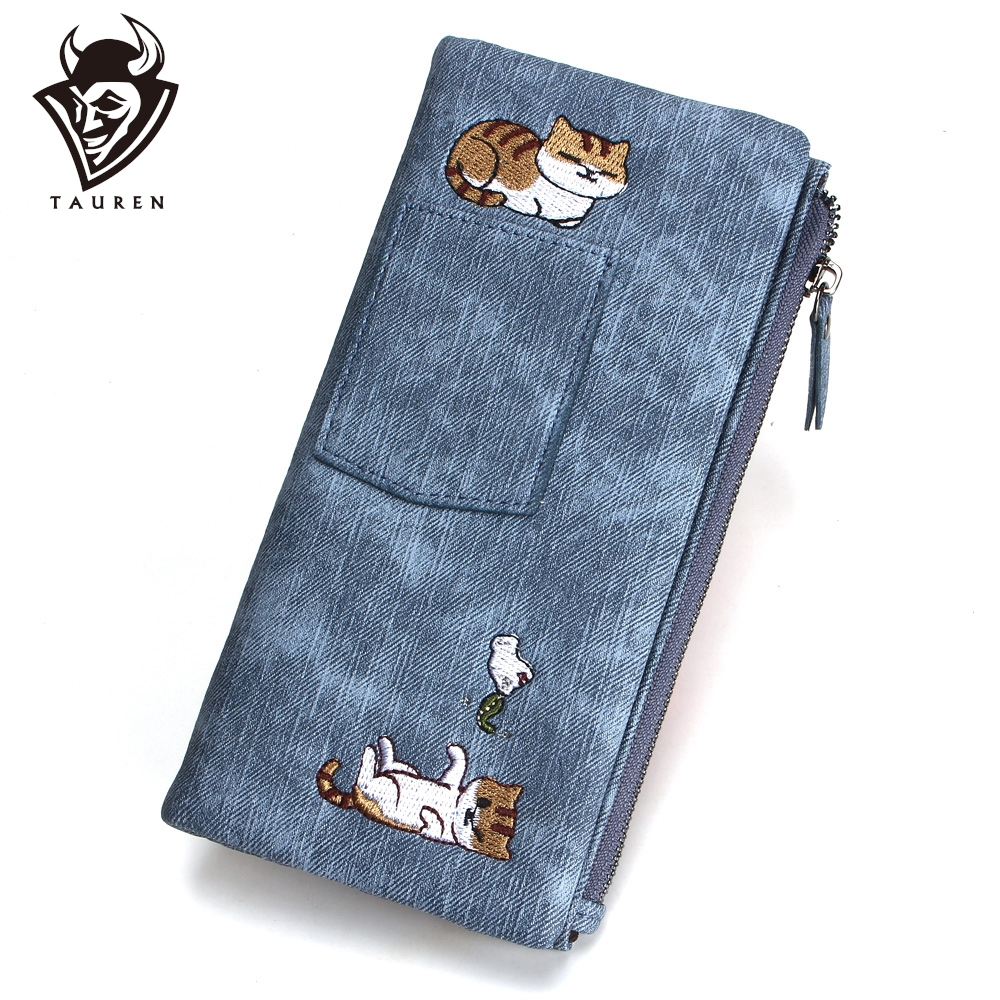 5 Color Cute Cat Jeans Style Women Wallet Long Zipper Girl High Grade Pu Leather Phone Case Female Card Holder Wallet