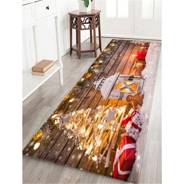 5 Size Christmas Door Mat lannel Carpet Room Anti Slip Kitchen Bathroom Pad Door Area Rug Cushion 2019 Christmas Santa Floor Mat 5