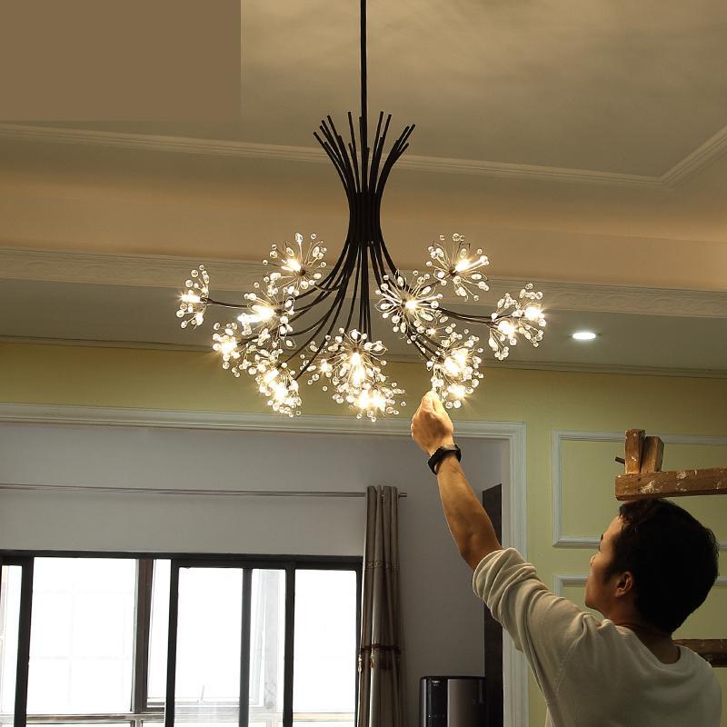 Nordic Modern Kids Room Led Bedroom Lamp Dandelion Hanging Lights Crystal  Ceiling Living Room Lamps Clothing Store Lighting
