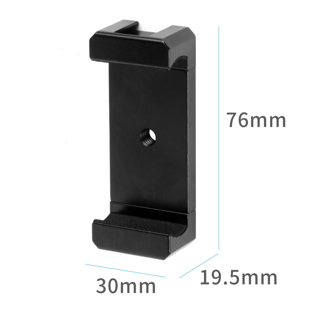 XT-XINTE Aluminum Alloy Mobile Phone Tripod Mount Clamp Holder Clip with Hot Shoe Handle Rig for iPhone Huawei Vlog Fill Video Recording