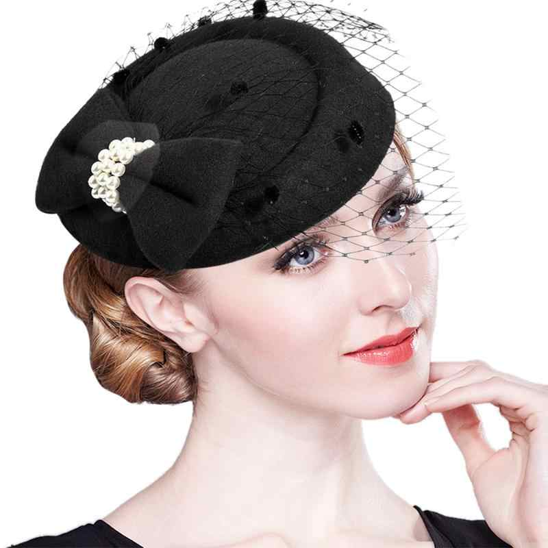 Vintage Women Fascinator Cambric Cocktail Hat Hairband Veiling Headband Lady Wedding Party Headdress Hair Accessoies