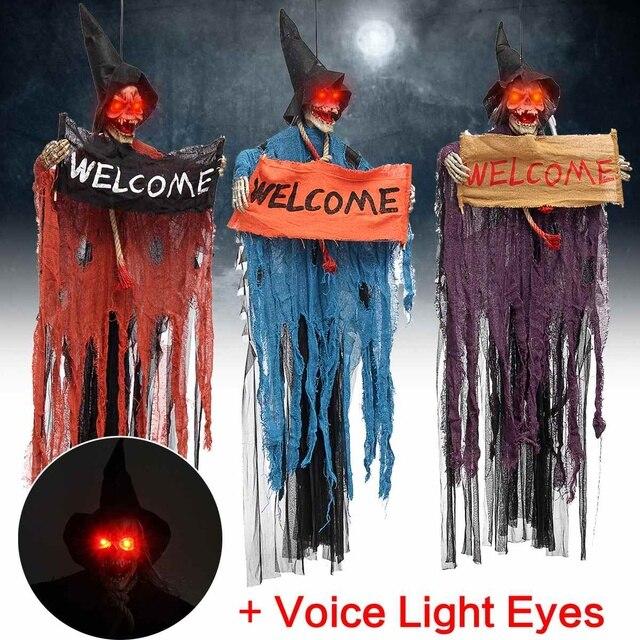 Хэллоуин реквизит электрический Голос подвесной Череп Скелет Призрак знак приветствия Хэллоуин Escape ужас реквизиты дом с привидениями укра...
