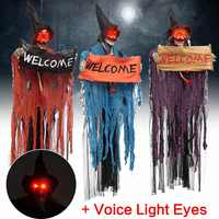 Halloween Prop Electric Voice Hanging Skull Skeleton Ghost Welcome Sign Halloween Escape Horror Props Haunted House Decoration
