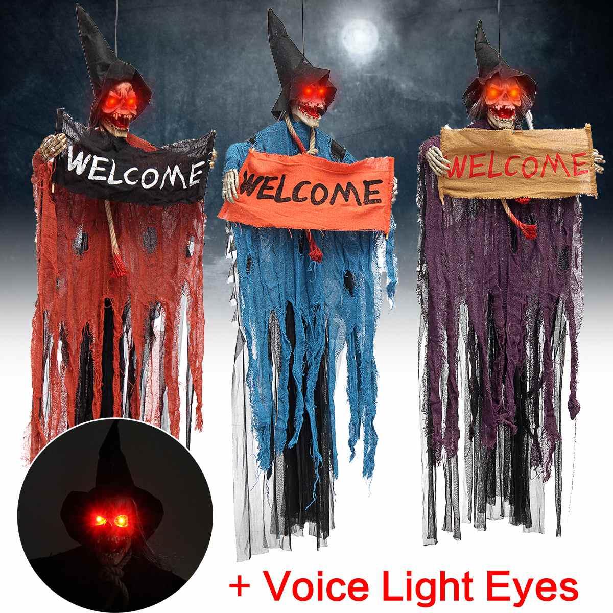 Halloween prop voz elétrica pendurado crânio esqueleto fantasma sinal de boas-vindas halloween escape horror adereços casa assombrada decoração