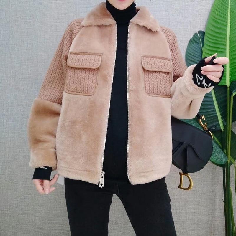 les ventes en gros sortie en ligne Excellente qualité Peau En 2018 Ptslan Manteau P5058 Khaki Laine Mouton Femmes ...