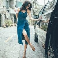 Solid Blue Cotton Denim Dress For Women 2019 Summer Fashion Casual Sleeveless Irregular Mid Calf Dress Jeans Dresses Vestidos