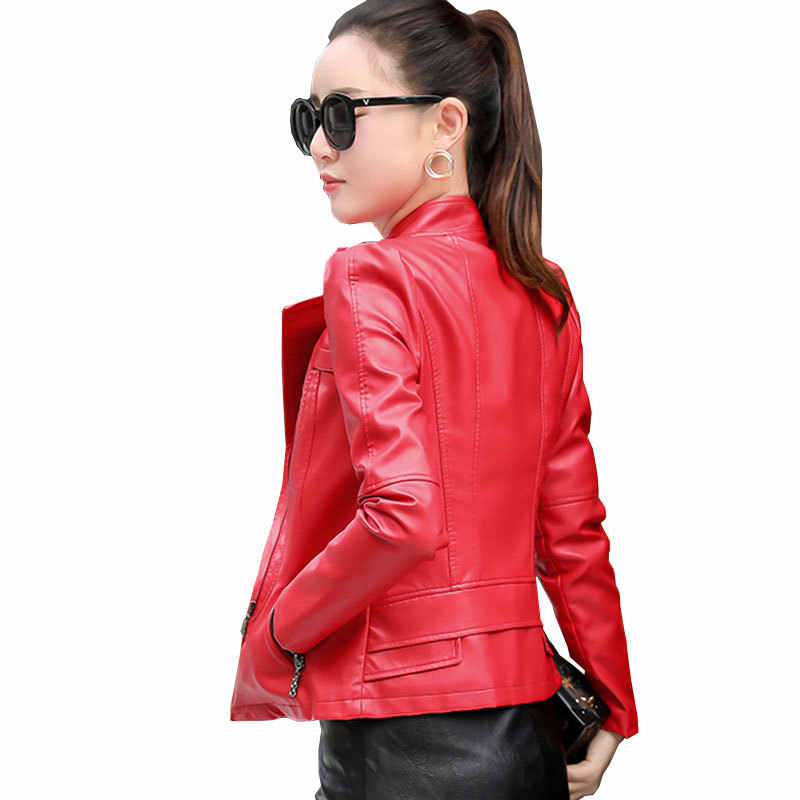 2019 Plus Ukuran XS 6XL Motor Kulit Wanita Jaket Ritsleting Hitam Merah Buatan Kulit Pendek Mantel Musim Gugur Tipis Wanita h59