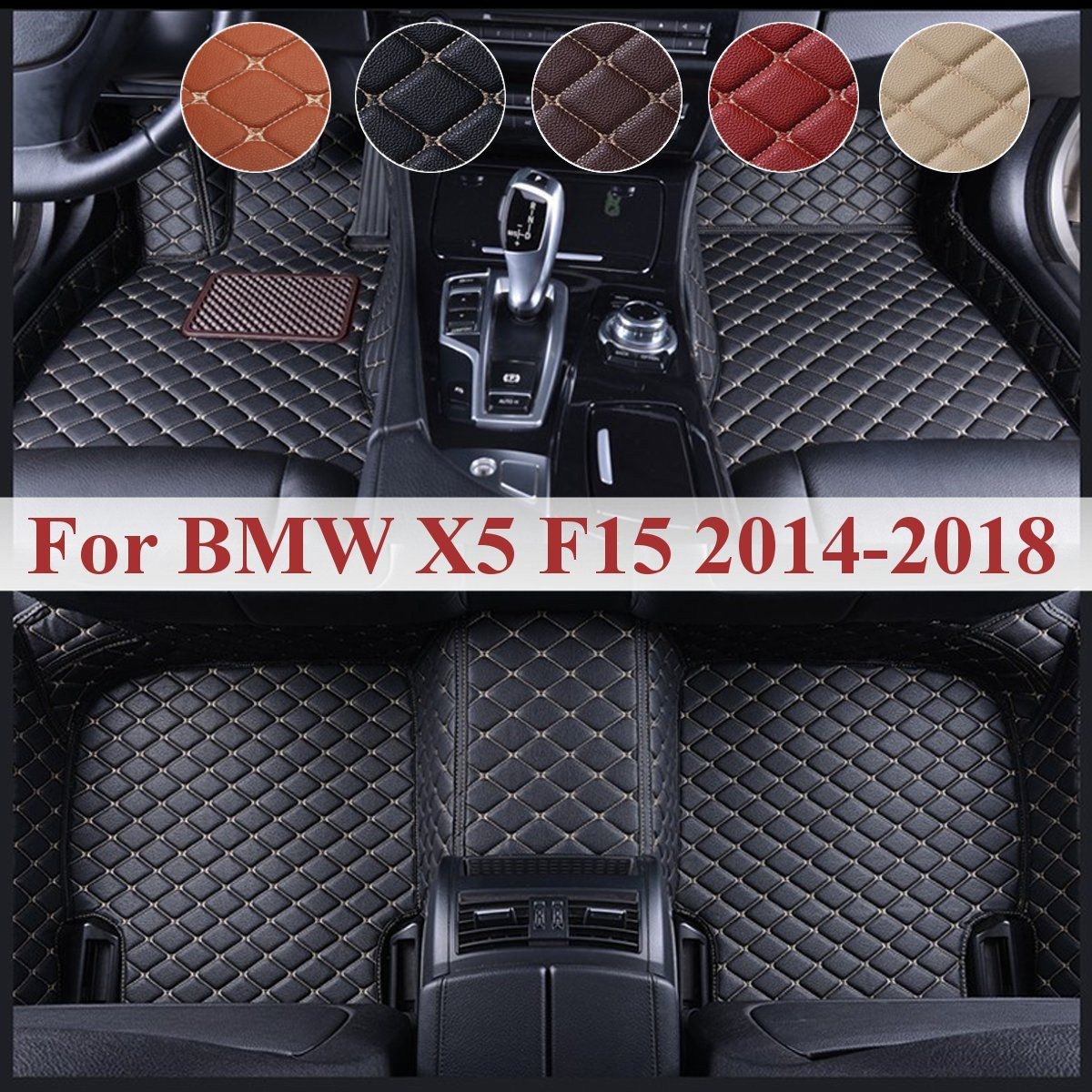 Car Front Rear PU Leather Floor Mats Set For BMW X5 F15 2014 2015 2016 2017 2018 Liner Waterproof 5 Seat Custom Foot Mats
