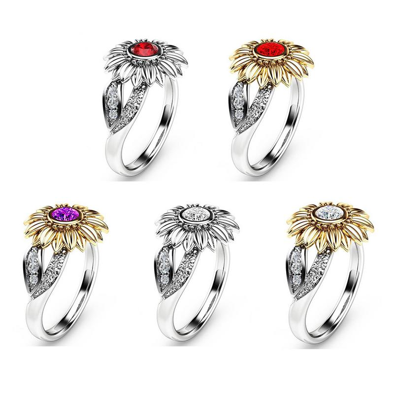 18k Gold-plating New Style Flower Shaped Ring Bague Femme Filled Sunflower Crystal Ring European and American Party Jewelry
