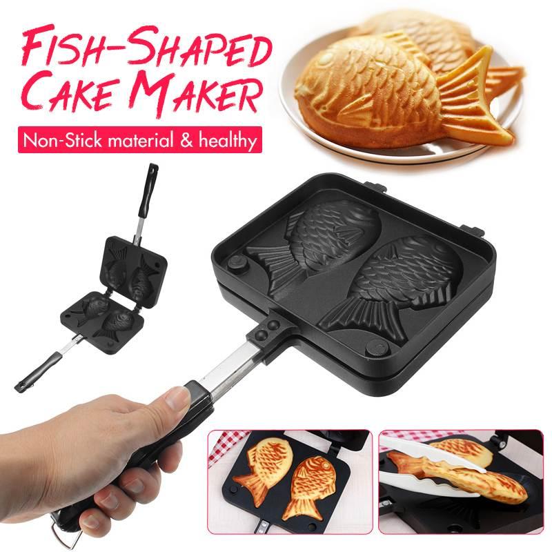 Casa Japonês Não-Stick 2 Taiyaki Peixe-Shaped Bakeware Waffle Pan Maker Moldes Bolo Ferramentas de Cozimento
