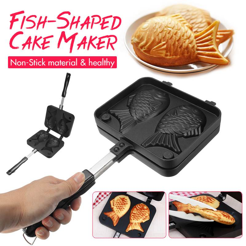 Home Japanese Non-Stick Taiyaki Fish-Shaped Bakeware Waffle Pan Maker 2 Molds Cake Baking Tools