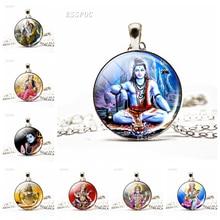 Krishna and Radha Amulet Necklace Glass Cabochon Jewelry Silver Chain Lakshmi Pendant Hinduism Lord Shiva Necklace Women Gifts radha