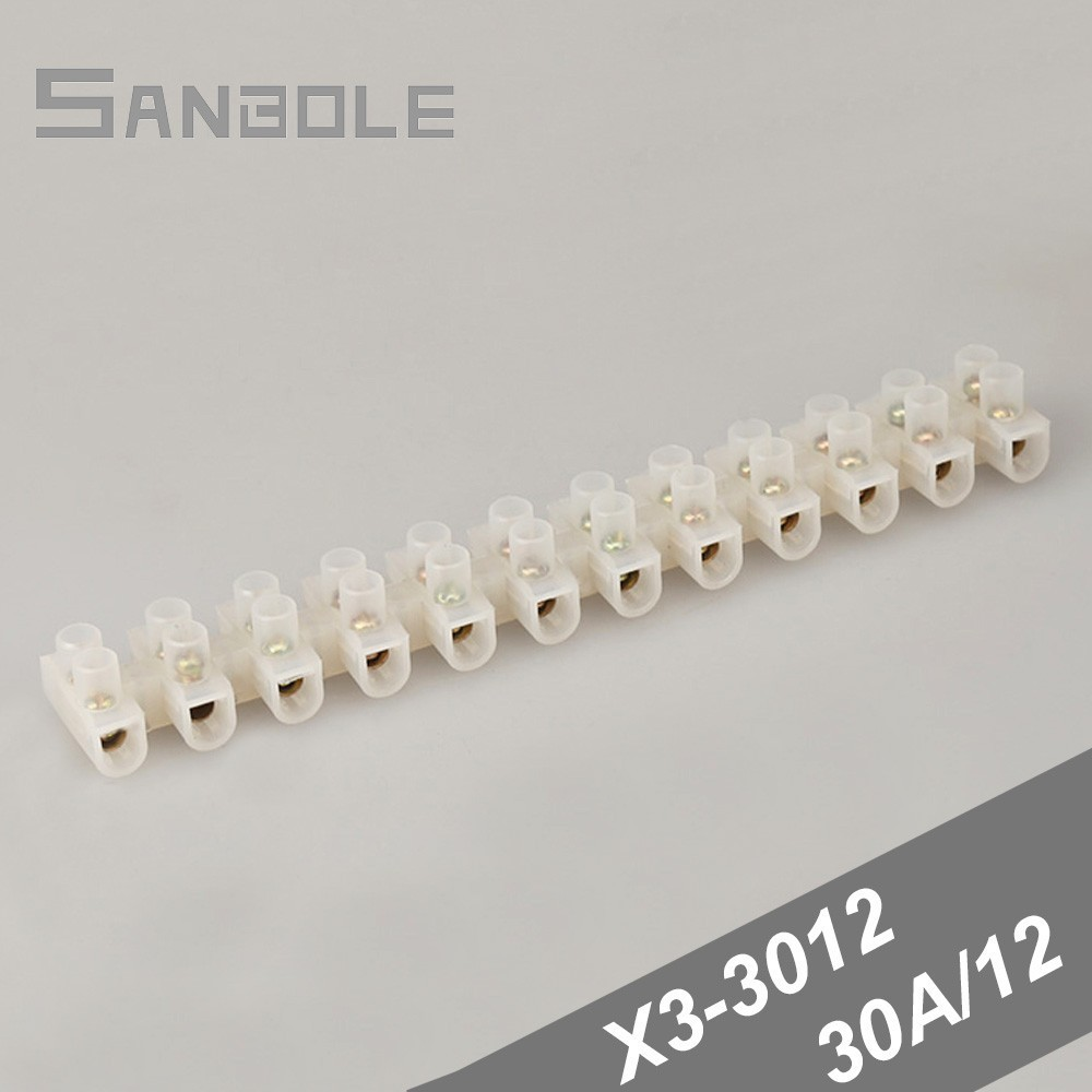1pcs Plastic Wire Connector 12-Position Barrier Terminal Block Screw Terminal Barrier Connector Electrical Wire Connection