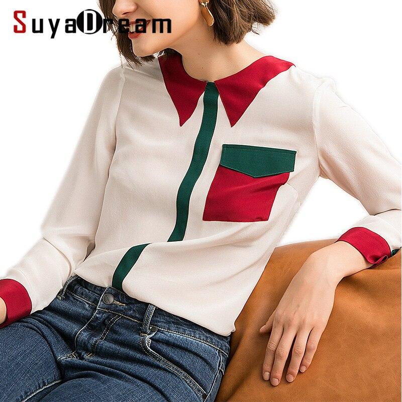 Kobiet jedwabną bluzkę 100% prawdziwy jedwab krepa bluzki ciężkiego jedwabiu biuro Lady bluzka kontrast kołnierz 2019 wiosna biała koszula w Bluzki i koszule od Odzież damska na  Grupa 1