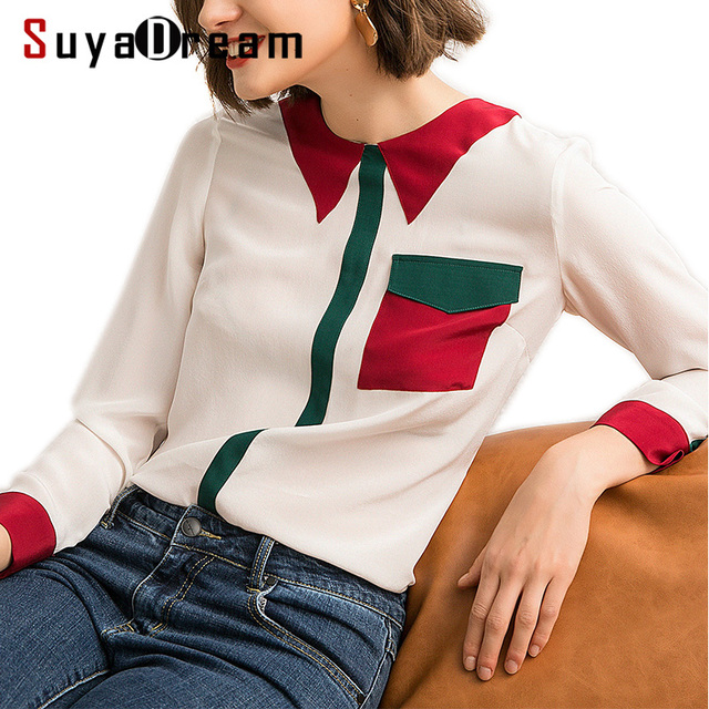 Women Silk Blouse 100% REAL SILK CREPE Blouses Heavy Silk OFFICE Lady Blouse Contrast Collar 2019 Spring White Shirt