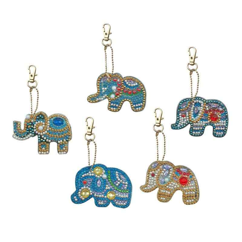 5Pcs DIY Full Special Shaped Diamond Painting Elephant Keyring Keychains Unique Shining Full Drill Rhinestones Craft Gifts
