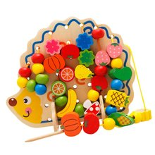 Montessori Wooden Toy Hedgehog Shape Funny String Bead Game for Baby Children Eye hand Coordination Color