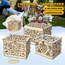 L/S Style NEW DIY Wedding Gift Card Box Wooden Money Box with Lock Beautiful Wedding Decoration Supplies for Party Storage Money(China)