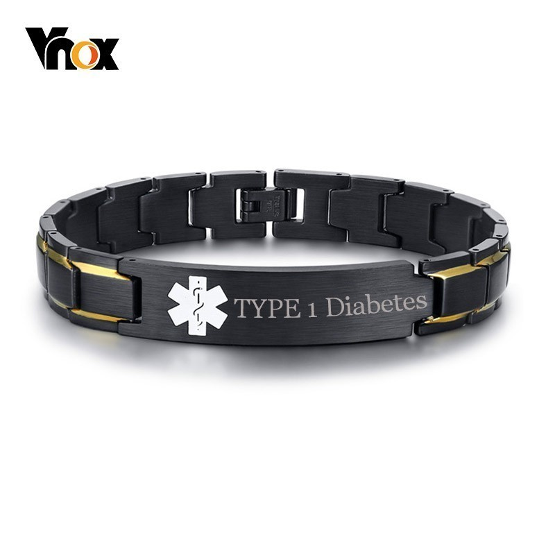 Vnox TYPE 1 Diabetes Medical Alert ID Bracelets for Men Customize Free  Engraving Disease Name ICE Emergency Reminder Jewelry