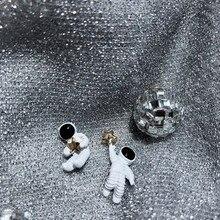 2019 Aros Japan Korea For Creative Cute Design Starry Sky Space Asymmetrical Astronaut Small Stud Earrings For Women Girl Gift design for space