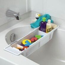 WSFS Hot Baby Kids Bath Bathtub Toy Storage Organizer and Bathtub adjustable Storage Basket Holder Kitchen Bathroom Accesories
