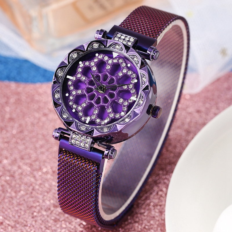 Women's Watch Fashion Bling Casual Ladies Turntable Watch Female Magnet Buckle Bracelets Jewelry Watch Crystal Diamond Clocks