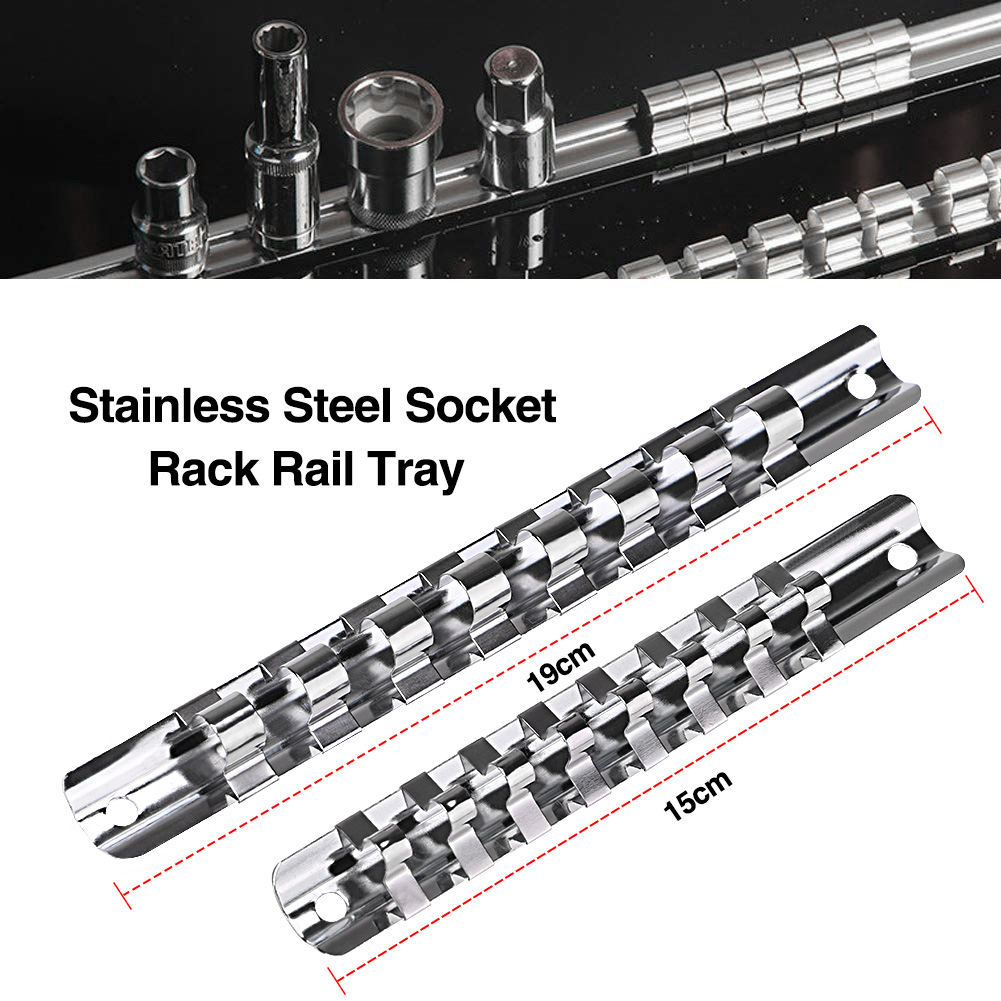 "1/4"" 1/2"" 3/8"" Socket Rack Holder With 8 Clips On Rail Tool Organizer Storage Carbon Steel Divider Rail Tray Holder Socket"