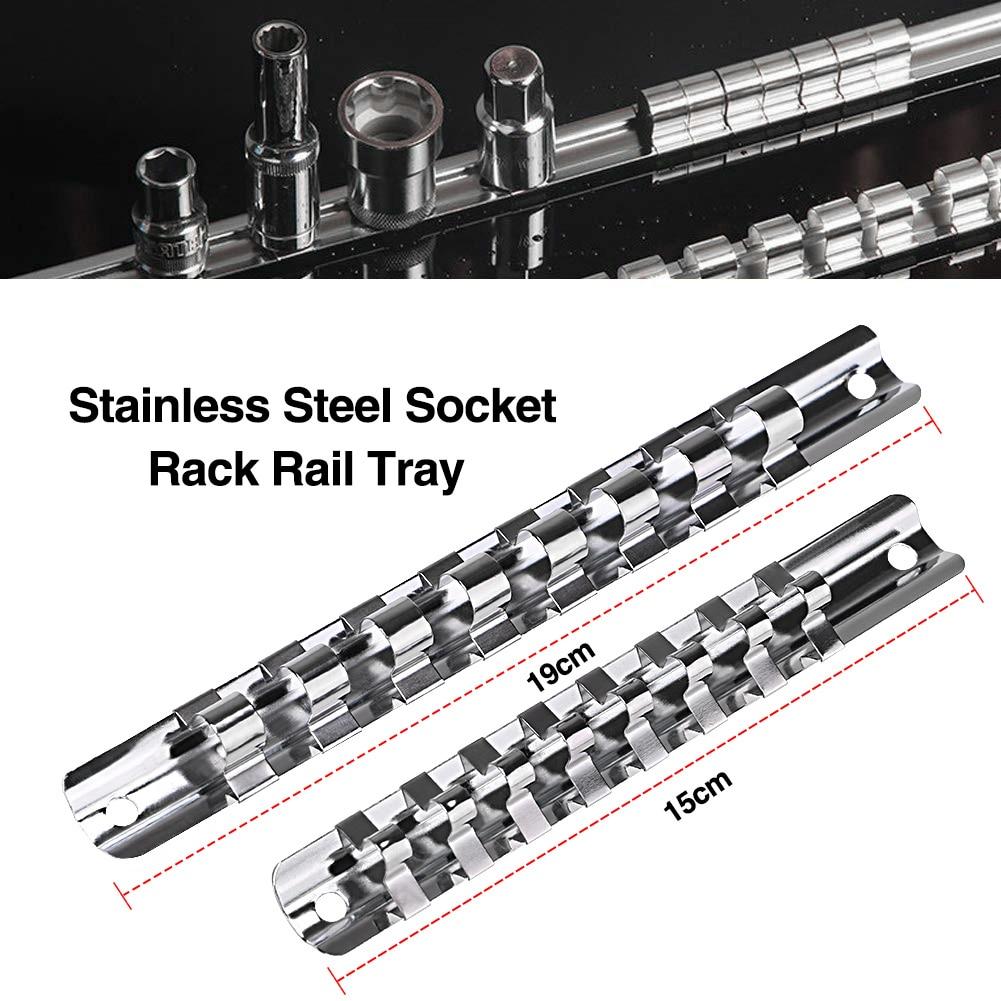 "1/4"" 1/2"" 3/8"" Socket Rack Holder With 8 Clips On Rail Tool Organizer Storage Carbon Steel Divider Rail Tray Holder Socket"
