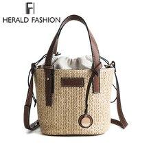 Herald модная женская сумка-мешок цилиндрическая Соломенная Сумка летние пляжные сумки пшеничная-плетеная солома женская сумка через плечо сумка-тоут