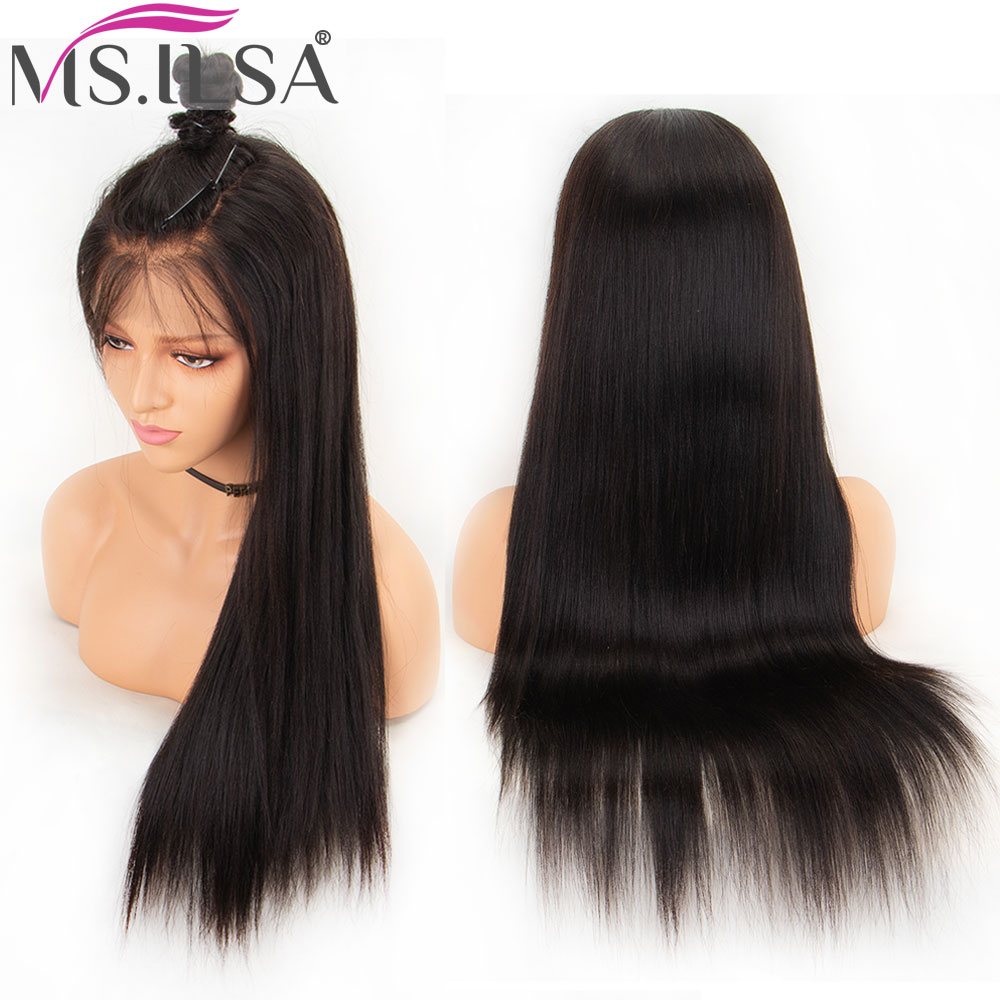 4334e1f77 13x6 Lace Front Wig Light Yaki Straight Wigs For Black Women Brazilian Remy  Natural Color Baby Hair Pre Plucked Full End MS.ILSA