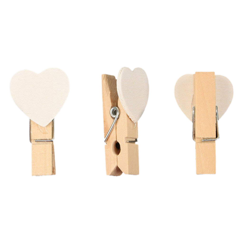 40pcs Love Heart Mini Wooden Photo Paper Clips Pegs For Photos Wedding Decor Craft-White
