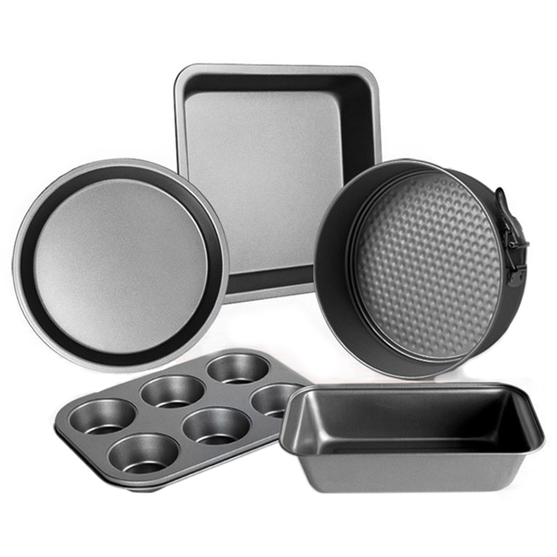 5-Piece Carbon Steel Baking Mold Set Oven Home Cake Biscuit Baking Tray Pizza Dish Kitchen Tool Baking Mold