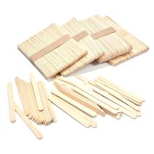 50pcs Wooden Sticks Colorful Ice Cream Natural Wood Kids Crafts Art Lolly Cake Tools Wholesale