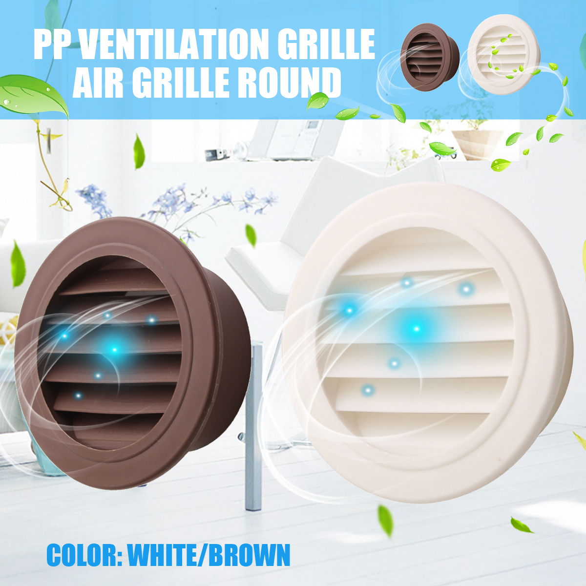 MTGATHER Round Air Vent ABS Louver Grille Cover PP Ventilation Grille Air Grille 100mm Heating Cooling  Vents