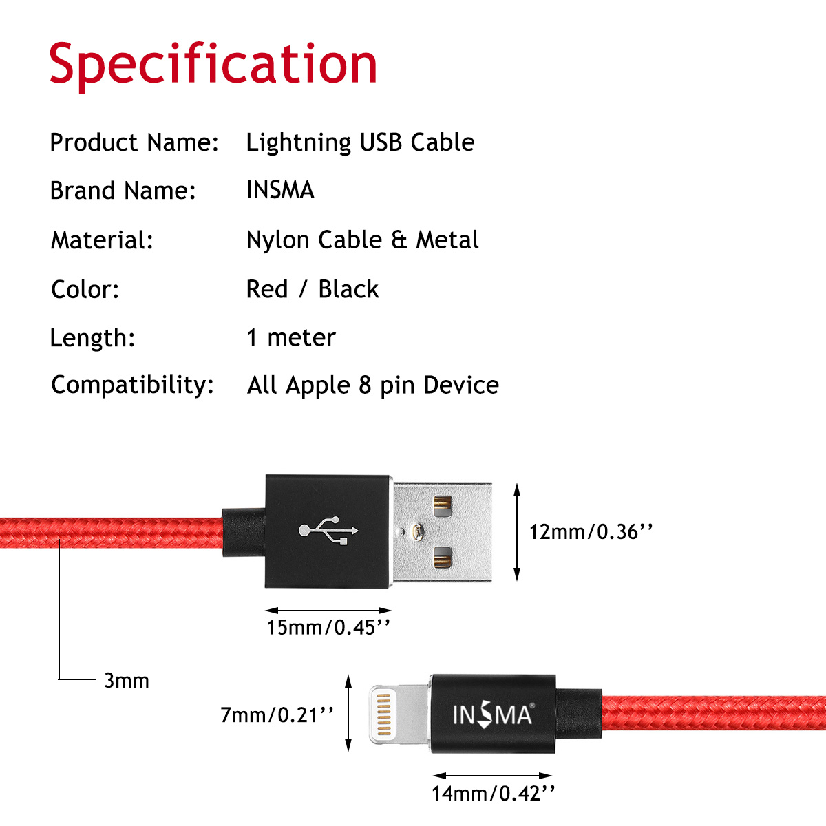 INSMA MFI Certified Lightning Cable Fast Charging Compatibility for Apple iPhone XS MAX XR X 8 Plus 7 7 Plus 6 6 Plus 5 5s 5c SE in Mobile Phone Cables from Cellphones Telecommunications