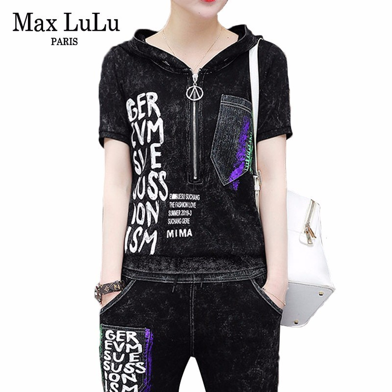 Max LuLu Luxury Korean Fashion Clothes Ladies Hooded Tops And Pants Womens Two Pieces Sets Denim