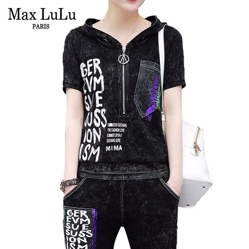 Max LuLu หรูหราเกาหลีเสื้อผ้าแฟชั่นสุภาพสตรีเสื้อและกางเกงสตรี 2 ชิ้นชุดกางเกงยีนส์ชุด Vintage เหงื่อ Tracksuit-ใน ชุดสตรี จาก เสื้อผ้าสตรี บน   1