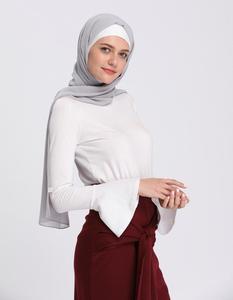 Image 4 - Müslüman Kadınlar Tops Fanila Abaya Uzun Kollu Sıkı T Shirt Bluz Boynuz Kollu O boyun Rahat Islam Giyim Türkiye Arap Yeni