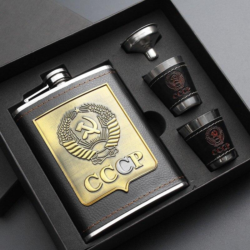 1 piezas de acero inoxidable cadera frascos conjunto de cuero Chip jarra de whisky botella de vino cccp grabado Alcohol jarra + 1 embudo 2 tazas