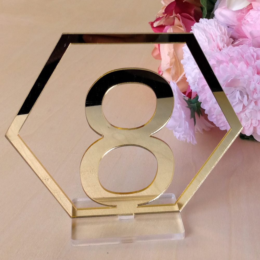 2019 1 40 Numbers Hexagon Signs Acrylic Mirror Wedding Table Number Signs Table Numbers Rustic Wedding Seat Plate Numbers Sign