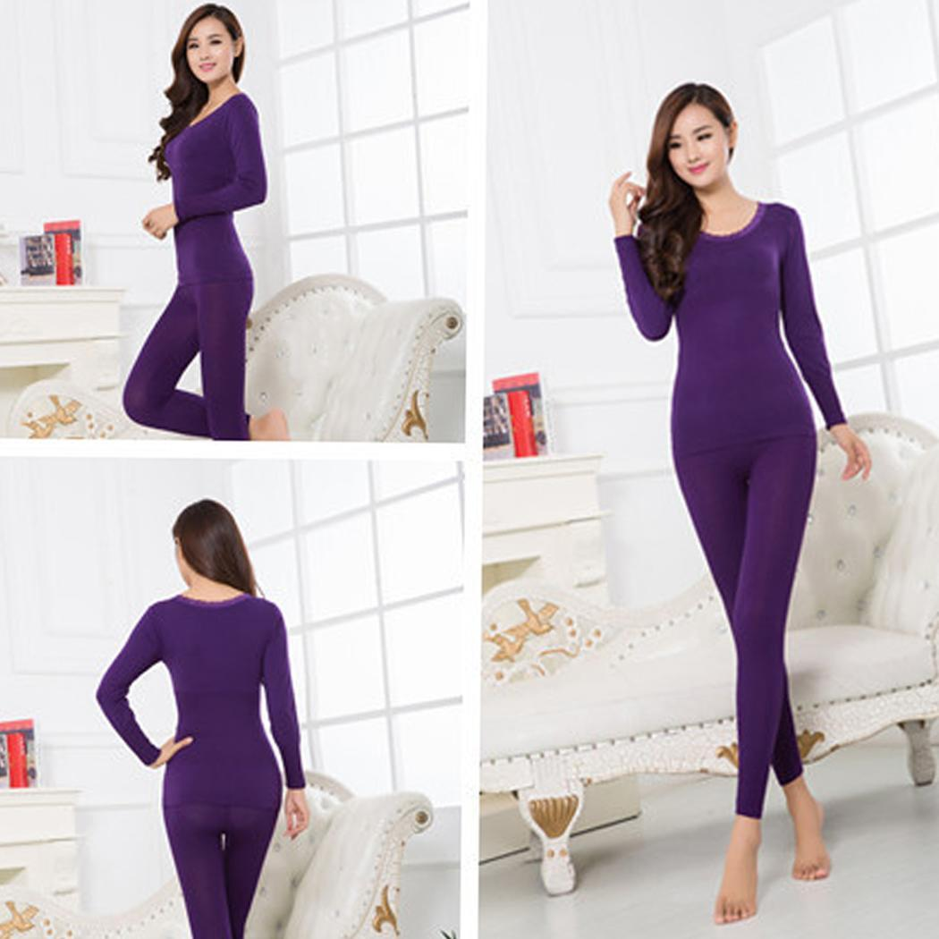 Women Casual O-Neck Long Sleeve Thermostatic Slim Full Length Pullover Thermal Underwear Set Elastic Waist
