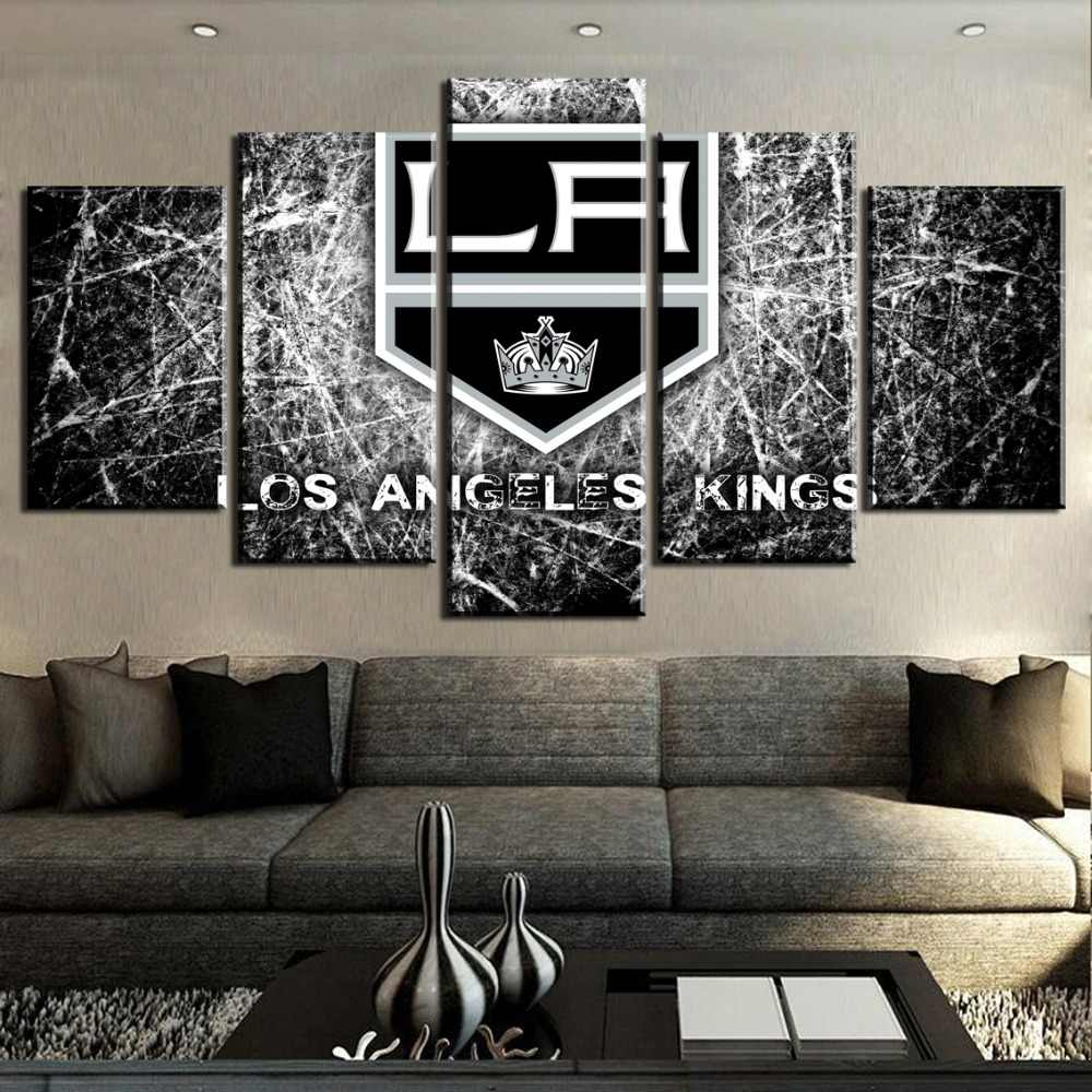 Hot Sell 5 Piece Canvas Art Ice Hockey Sport Logo Painting Canvas Wall Art Picture Home Decoration Living Room Canvas Painting
