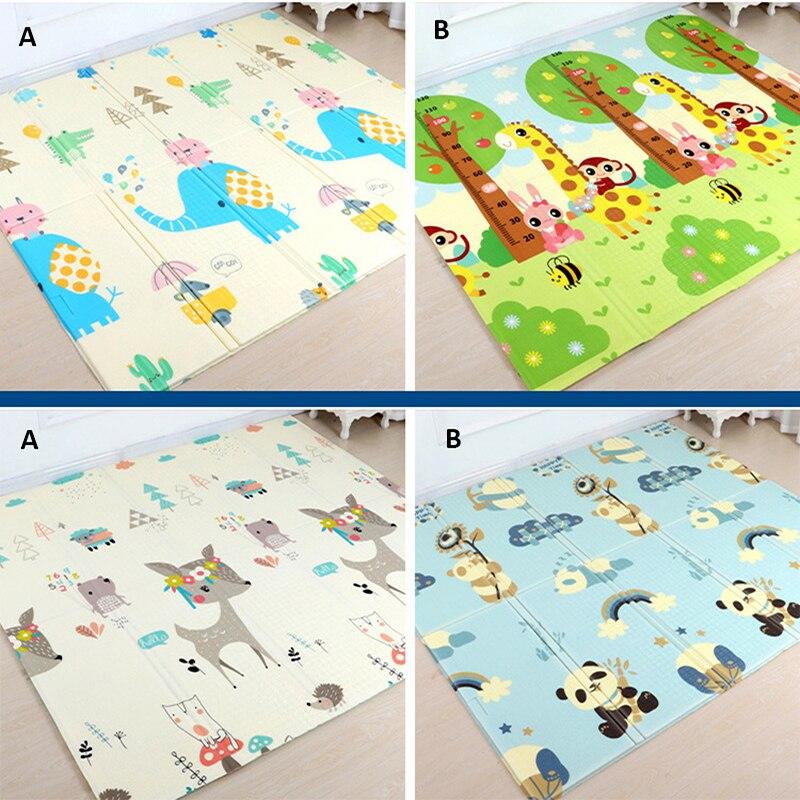 Estera de juego de bebé de doble cara 1cm grueso juguetes para niños XPE plegable alfombra de gateo juego antideslizante para los niños es la alfombra de piso suave-in Esteras de juego from Juguetes y pasatiempos    2