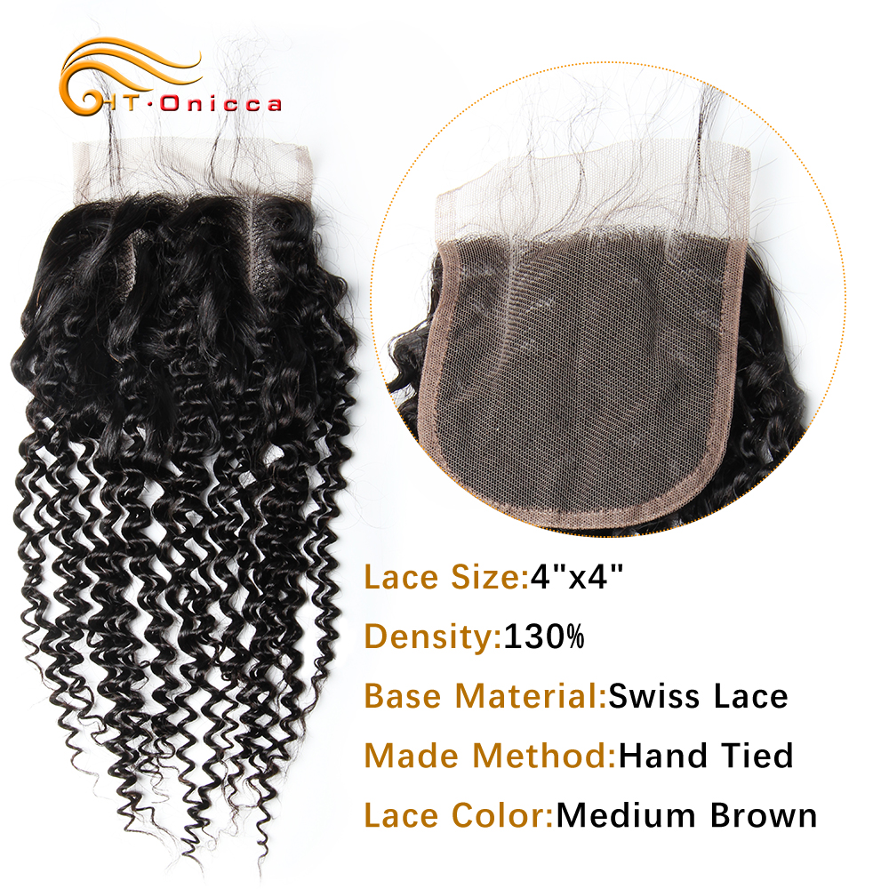 Onicca Hair Brazilian Kinky Curly Closure 4*4 100% Human Hair Swiss Lace Closure Non-remy Hair Free Middle Three Part Closure