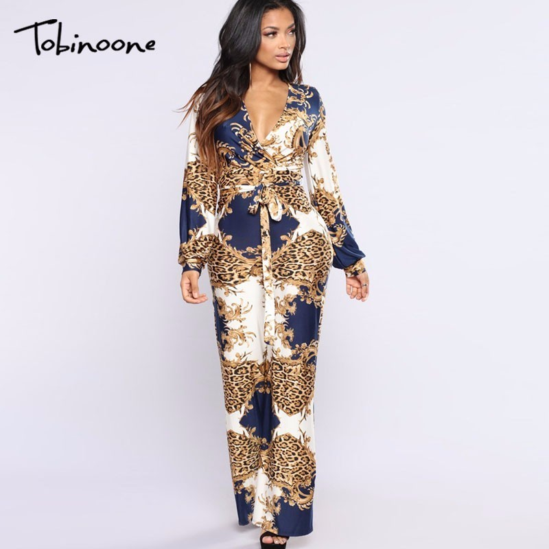Tobinoone 2018 New Arrival Sexy Bodycon   Jumpsuit   Women Wide Leg Elegant Vintage Print Casual Romper Woman   Jumpsuit   Overalls