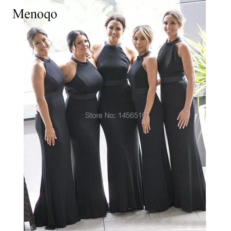 Simple Black Long Country   Bridesmaid     Dresses   Sleeveless Sexy Mermaid Women   Dress   For Wedding Party Cheap Wedding Guest   Dress